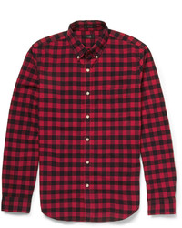 Chemise à manches longues en vichy rouge et noire