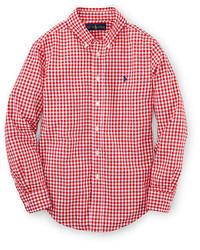 Chemise à manches longues en vichy rouge