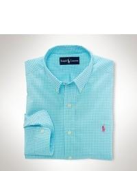 Chemise à manches longues en vichy turquoise