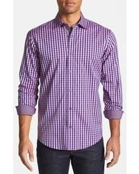 Chemise à manches longues en vichy violette