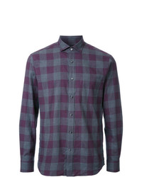Chemise à manches longues en vichy violette Kent & Curwen