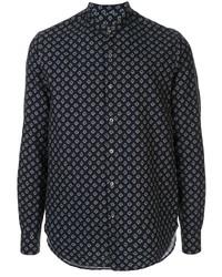 Chemise à manches longues géométrique bleu marine Giorgio Armani