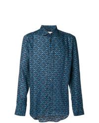 Chemise à manches longues géométrique bleue Etro