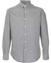 Chemise à manches longues géométrique noire et blanche Salvatore Ferragamo