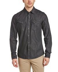 Chemise à manches longues gris foncé Wrangler