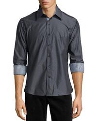 Chemise à manches longues grise foncée