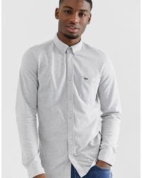 Chemise à manches longues grise Lacoste