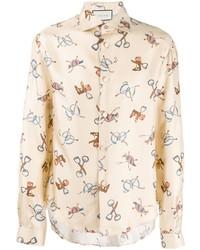 Chemise à manches longues imprimée beige Gucci