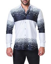Chemise à manches longues imprimée blanc et bleu marine