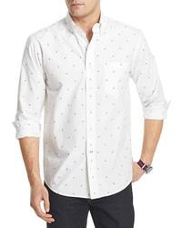 Chemise à manches longues imprimée blanc et bleu