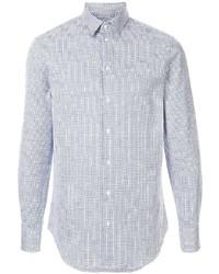 Chemise à manches longues imprimée blanc et bleu Emporio Armani
