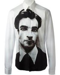 Chemise à manches longues imprimée blanche et noire