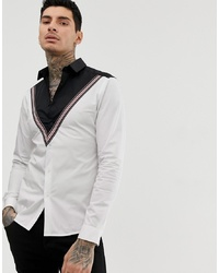 Chemise à manches longues imprimée blanche et noire ASOS DESIGN