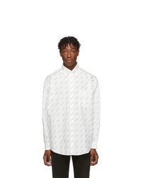 Chemise à manches longues imprimée blanche et noire Balenciaga