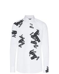 Chemise à manches longues imprimée blanche et noire Dolce & Gabbana