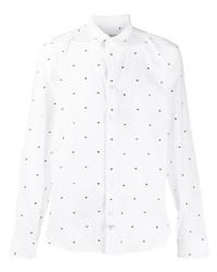 Chemise à manches longues imprimée blanche et noire Kenzo