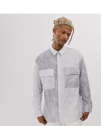 Chemise à manches longues imprimée blanche et noire Noak