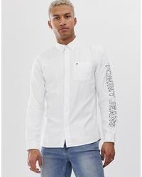 Chemise à manches longues imprimée blanche et noire Tommy Jeans