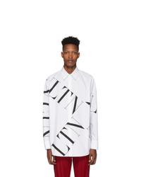Chemise à manches longues imprimée blanche et noire Valentino