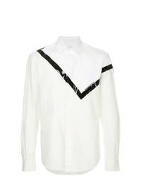 Chemise à manches longues imprimée blanche et noire Yoshiokubo