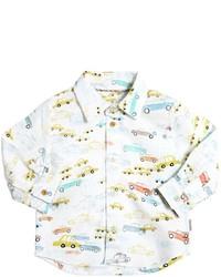 Chemise à manches longues imprimée blanche