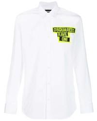 Chemise à manches longues imprimée blanche DSQUARED2