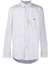 Chemise à manches longues imprimée blanche Etro