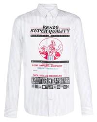 Chemise à manches longues imprimée blanche Kenzo