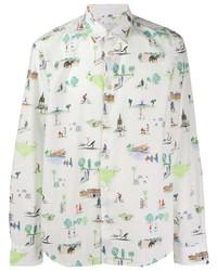 Chemise à manches longues imprimée blanche Paul Smith