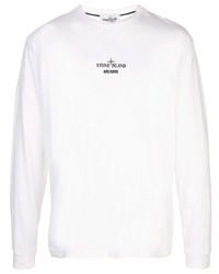 Chemise à manches longues imprimée blanche Stone Island
