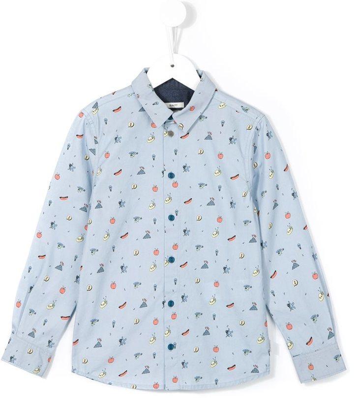 Chemise à manches longues imprimée bleu clair Paul Smith