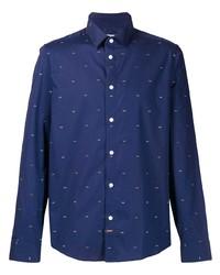 Chemise à manches longues imprimée bleu marine et blanc