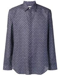 Chemise à manches longues imprimée bleu marine et blanc Maison Margiela