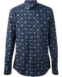 Chemise à manches longues imprimée bleu marine