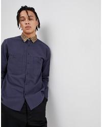 Chemise à manches longues imprimée bleu marine ASOS DESIGN