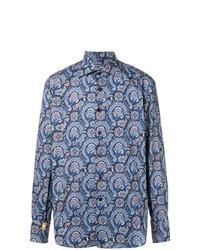 Chemise à manches longues imprimée bleu marine Billionaire