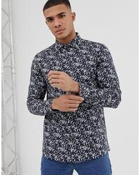 Chemise à manches longues imprimée bleu marine Burton Menswear