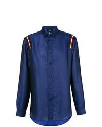 Chemise à manches longues imprimée bleu marine Cavalli Class