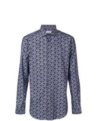 Chemise à manches longues imprimée bleu marine Etro