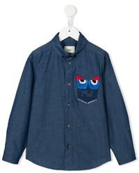 Chemise à manches longues imprimée bleu marine Fendi