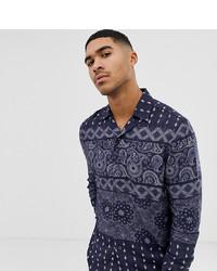 Chemise à manches longues imprimée bleu marine Mauvais
