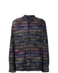 Chemise à manches longues imprimée bleu marine Missoni