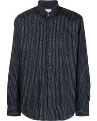 Chemise à manches longues imprimée bleu marine Salvatore Ferragamo
