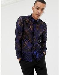 Chemise à manches longues imprimée bleu marine Twisted Tailor