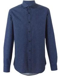Chemise à manches longues imprimée bleu marine Z Zegna