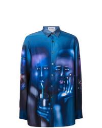 Chemise à manches longues imprimée bleue Études