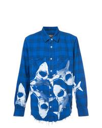Chemise à manches longues imprimée bleue Amiri