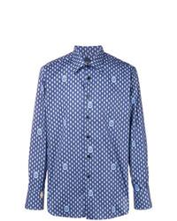 Chemise à manches longues imprimée bleue Billionaire