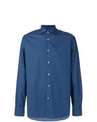 Chemise à manches longues imprimée bleue Borriello