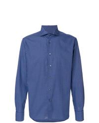 Chemise à manches longues imprimée bleue Corneliani